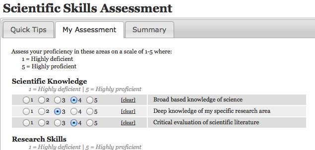 myIDP skills self-assesment